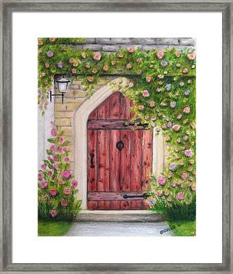 Cottage Door Framed Print by Gizelle Perez