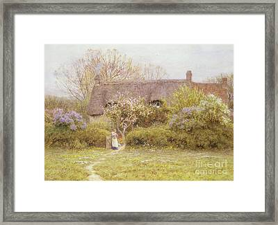 Cottage Freshwater Isle Of Wight Framed Print by Helen Allingham