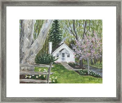 Cottage In Spring Framed Print