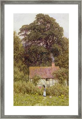 Cottage Near Brook  Framed Print
