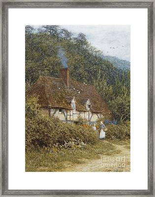 Cottage Near Witley Surrey Framed Print by Helen Allingham