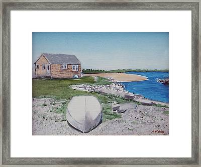 Cottage On The Marsh Framed Print by Anthony Ross