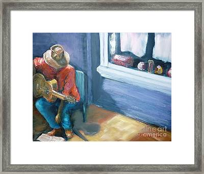 Framed Print featuring the painting Busker At Cottesloe - Original Sold by Therese Alcorn