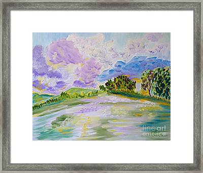 Framed Print featuring the painting Cotton Candy Clouds by Meryl Goudey