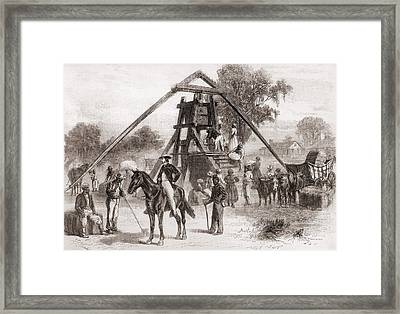 Cotton Press In Operation In The South Framed Print by Everett