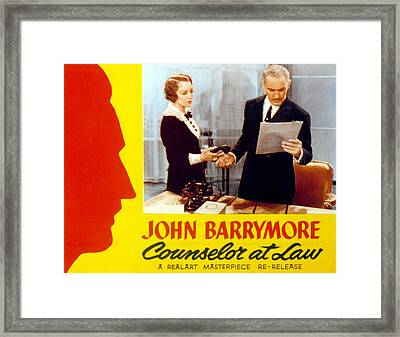 Counsellor At Law, Bebe Daniels, John Framed Print by Everett