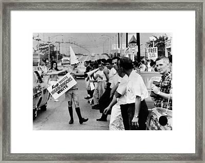 Counter Demonstrators Against Open Framed Print by Everett