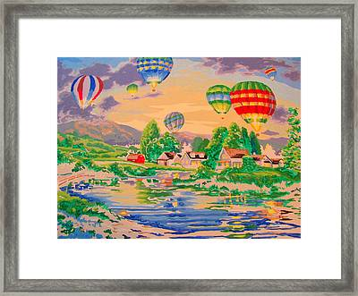 Country Balloon Ride Framed Print by Amy Bradley