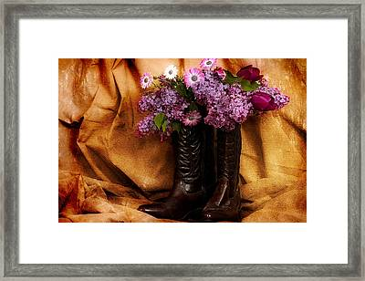 Country Boots And Flowers Framed Print by Trudy Wilkerson