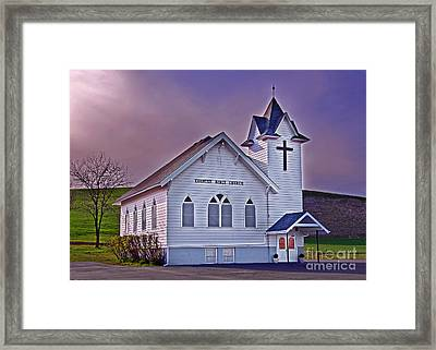 Country Church At Sunset Art Prints Framed Print by Valerie Garner