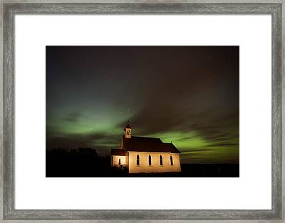 Country Church Night Photography Framed Print