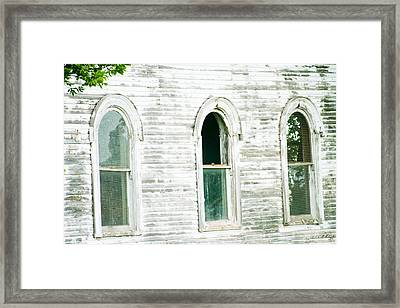 Country Church Windows Framed Print by Toni Hopper