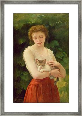 Country Girl And Her Kitten Framed Print by Charles Landelle