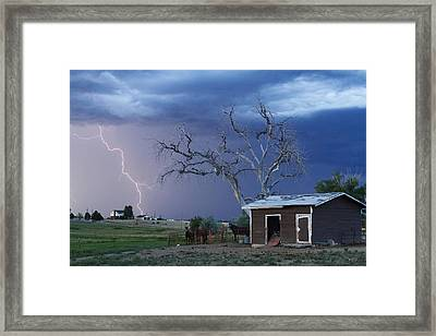 Country Horses Lightning Storm Ne Boulder County Co  63 Framed Print