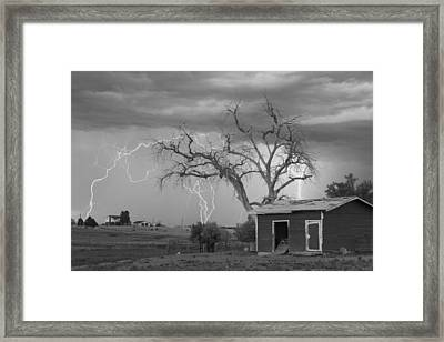 Country Horses Lightning Storm Ne Boulder County Co  76bw Framed Print