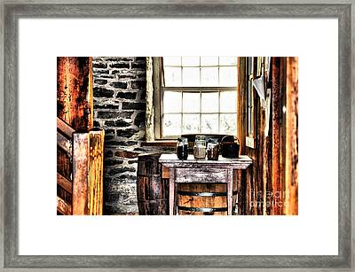 Country Jars Framed Print by Elaine Manley