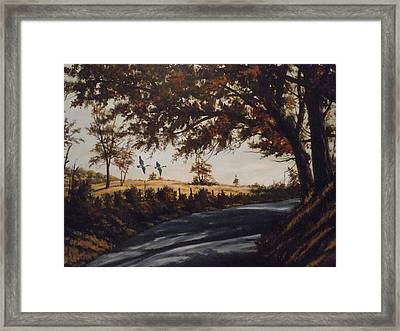 Framed Print featuring the painting Country Road by James Guentner