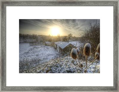Country Snow And Sunrise Framed Print by Yhun Suarez
