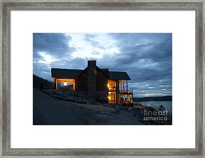 Countryside Hotel Overlooking A Lake Framed Print
