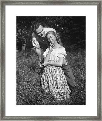 Couple In Countryside Framed Print by George Marks