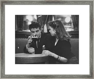 Couple In Pub Framed Print by Picture Post