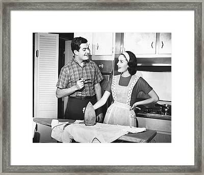 Couple Ironing Framed Print by George Marks