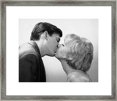 Couple Kissing Framed Print by George Marks