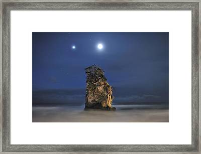Couple Of Jovian And Lunar Lights Framed Print by Dr. Akira TAKAUE / Dr. GEIST