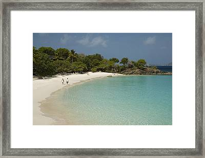 Couple On Beach In Caneel Bay Resort, Turtle Bay Framed Print by Margie Politzer