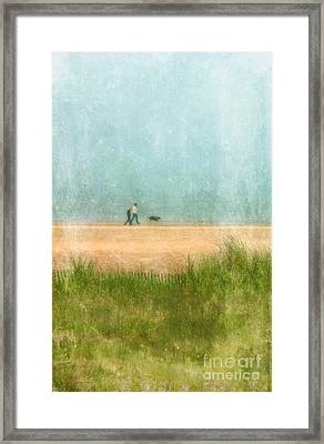 Couple On Beach With Dog Framed Print by Jill Battaglia