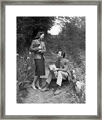 Couple On Path In Woods Framed Print by George Marks