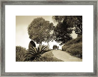 Couple On The Bench In Venice Framed Print by Madeline Ellis