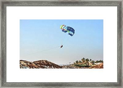 Couple Parasailing Over Shacks Goa Framed Print by Kantilal Patel