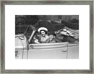 Couple Riding In Old Fashion Convertible Car, (b&w),, Portrait Framed Print by George Marks