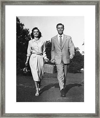 Couple W/ Picnic Basket Framed Print by George Marks