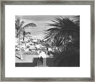 Couple Walking In Path Towards Beach, (b&w), Elevated View Framed Print by George Marks