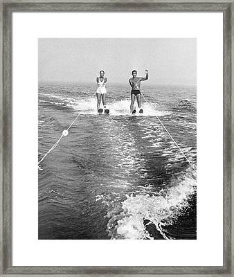 Couple Water Skiing Framed Print by George Marks