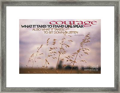 Framed Print featuring the photograph Courage by Vicki Ferrari
