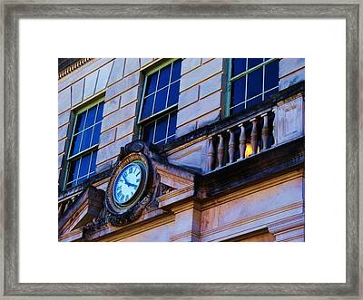 Courthouse Clock Framed Print by Beverly Hammond