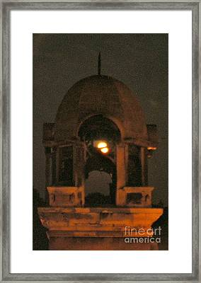 Courthouse Tower In Full Moon Framed Print by Tina Ann Byers