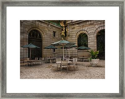 Courtyard Dining Framed Print by Robin-Lee Vieira