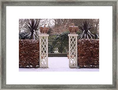 Courtyard Garden, Italianate Style, Winter Snow Framed Print