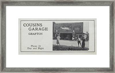 Cousins Garage Ca 1931 Framed Print by Grafton Ontario