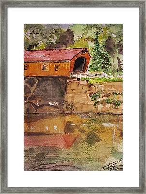 Covered Bridge And Reflection Framed Print by Phyllis Barrett