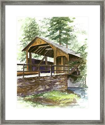 Framed Print featuring the painting Covered Bridge At Knoebels  by Nancy Patterson