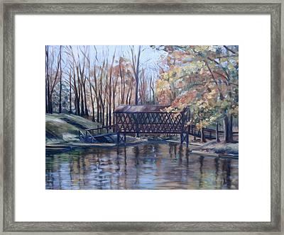 Covered Bridge At Lake Roaming Rock Framed Print by Donna Tuten