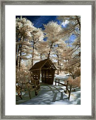 Covered Bridge In Snow Framed Print