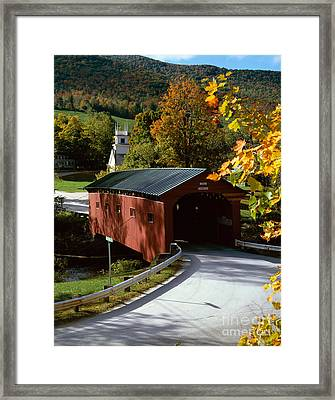Covered Bridge In Vermont Framed Print by Rafael Macia and Photo Researchers