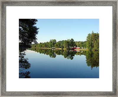 Covered Bridge Reflections At L'ange Gardien Quebec Framed Print by Bruce Ritchie
