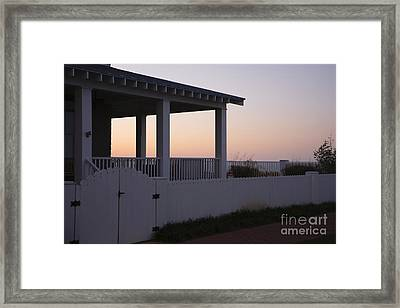 Covered Porch And Fence At Sunset Framed Print